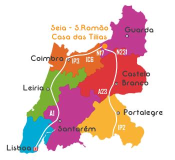 Mapa de Portugal Sul com Direções para a Casa das Tilias - São Romão - Seia