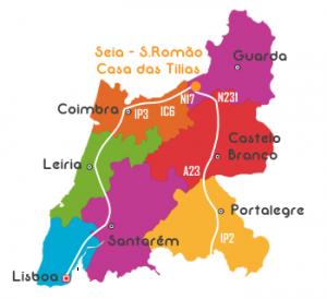 Mapa de Portugal Norte com Direções para a Casa das Tilias - São Romão - Seia